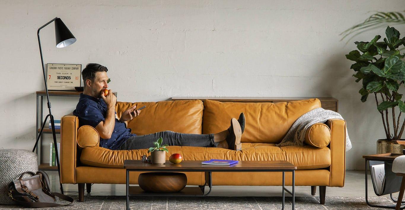 Sven Charme Tan Sofa Sofas Article Modern Mid