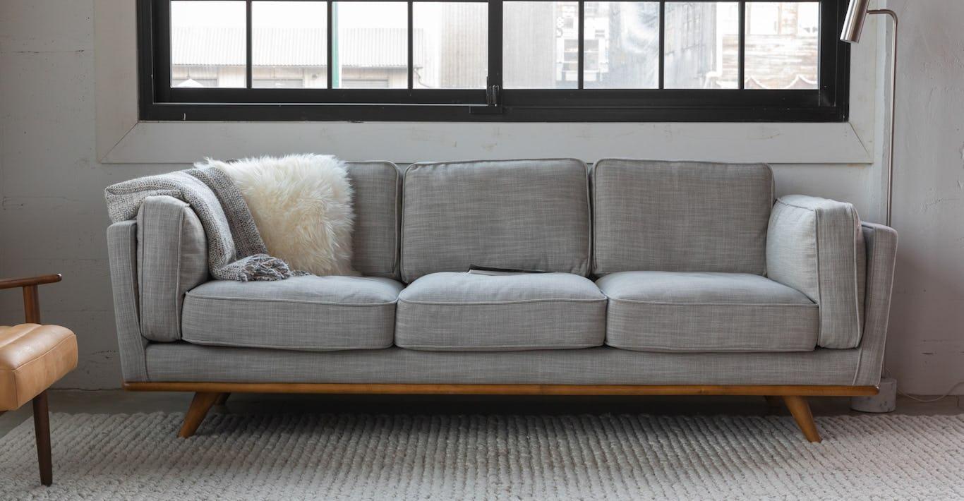 Gray Sofa 3 - Seater In Honey Oak Wood | Article Timber Modern Furniture
